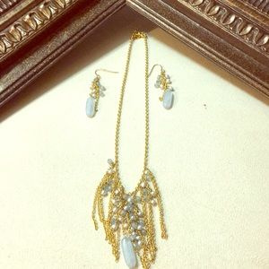 Handmade gold and blue bead necklace & earrings